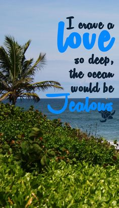 "Love as deep as the ocean | ""I crave a love so deep the ocean would be jealous"""