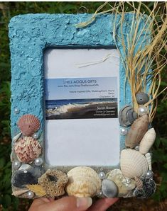 """Made to Order """"Carolina Skies"""" Beach or Frame- hand collected Carolina sand, shells! Beach W Seashell Frame, Seashell Art, Seashell Crafts, Seashell Display, Beach Picture Frames, Beach Frame, Marco Diy, Seashell Projects, Driftwood Projects"""