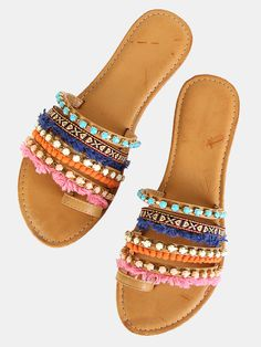 Online shopping for Tribal Slide Sandals NATURAL from a great selection of women's fashion clothing & more at MakeMeChic.COM.