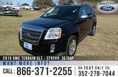 2015 GMC Terrain SLT - V6 3.6L Engine - Alloy Wheels - Spoiler - Tinted Windows - Fog Lights - Roof Racks - Black Leather interior - Safety Airbags - Powered Windows/Locks/Mirrors/Driver Seat - Seats 5 - AM/FM/CD/XM - iPod/Aux/UBS Ports - Heated Front Seats - OnStar - Sunroof - Backup Camera - Cruise Control - EZ Lift Tailgate - Front Collision Alert -Lane Departure - Pioneer Speakers - Remote Keyless Entry - Touch Screen - Digital Compass - Outside Temperature Display and more!