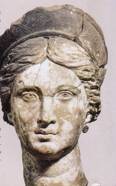 Aphrodite head in terra-cotta, about 300 b.C