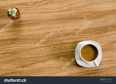 Coffee And Cactus On Wood Table Stock Photo 467470763 : Shutterstock