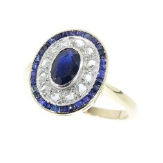 Art Deco diamond sapphire ring 18k yellow gold engagement ring 1920s