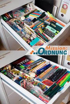 Schubladen Bürozeug ausmisten und neu ordnen