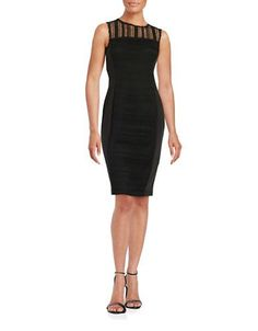 Taylor Lace-Accented Sheath Dress Women's Black 12