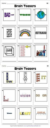 Brain teasers are a great way to get your students to use their critical thinking skills. Check out our clever rebus puzzles - we're sure your students are going to like them!