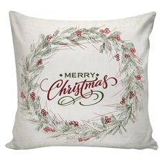 Christmas Pillow Winter Wreath Cotton and Burlap Pillow Cover CH-81 Elliott Heath Designs by ElliottHeathDesigns on Etsy