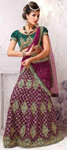 127402, Mehendi & Sangeet Lehenga, Net, Jacquard, Stone, Patch, Border, Thread, Purple and Violet Color Family