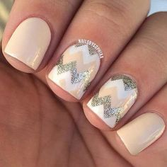 50+ Summer Nail Art Ideas - Neutral Chevrons
