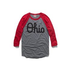 The famous four letters of Script Ohio are the perfect way to display your Buckeye State pride. From Cleveland to Cincy, from C-Bus to the shores of Lake Erie, Vinyl Shirts, Tee Shirts, Ohio State Shirts, Together We Stand, Raglan Baseball Tee, Movie Tees, Ohio State University, Tee Shirt Designs, Vintage Style Outfits