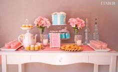Pretty in Pink w/ Tiffany's Inspiration Bridal Shower :  wedding blue bridal shower cake cake stand elegant glass vase inspiration pink pink flowers polkatot cupcakes pretty in pink silver theme tiffany blue tiffany box vintage white candelabras Dessert Table