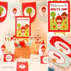 Instant Download Red Riding Hood Birthday Party Printable Kit with Changeble Text