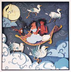 Disney Aladdin Paper Art: A Whole New World - Handmade Illustration of Aladdin and Princess Jasmine on the Magic Carpet with Abu and Genie!  https://www.etsy.com/it/listing/196643125/disney-aladdin-il-mondo-e-mio?ref=pr_shop