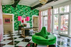 I cannot get enough of this bright green color right now. Love how it's paired with the black and white harlequin floor and the pop of pink!