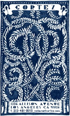 Britt's logo drawing for Cortez restaurant made with natural indigo pigment by Growing Indigo.