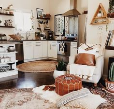A very vintage style open concept with a rad touch of floating shelves! We customize to your order! Visit our website or call to order, we're happy to help!