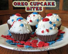 Red, White & Blue Oreo Cupcake Bites