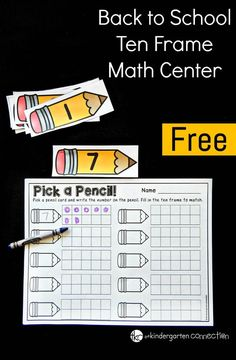 This ten frame activity is a great math center for Pre-K or Kindergarten students to work on number recognition and counting!
