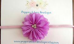 Lavender Flower Headband Baby Headband by PoppiesnLaceBowtique