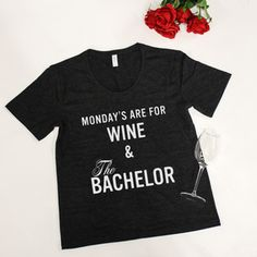 Mondays Are For Wine & The Bachelor Graphic Tee Heather Black