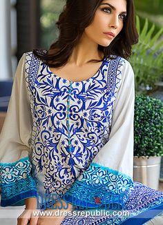 Round Neck Printed Full-length Sleeve Suit Sana Safinaz Eid Lawn Outfits 2014 6B Design