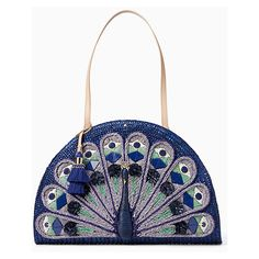 Kate Spade Full Plume Straw Peacock Bag ($398) ❤ liked on Polyvore featuring bags, handbags, kate spade purses, white bag, straw handbags, straw purse and kate spade bags