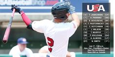 July 17 - Baseball - Men - Preliminary Round. USA vs Canada. Team USA lineup.