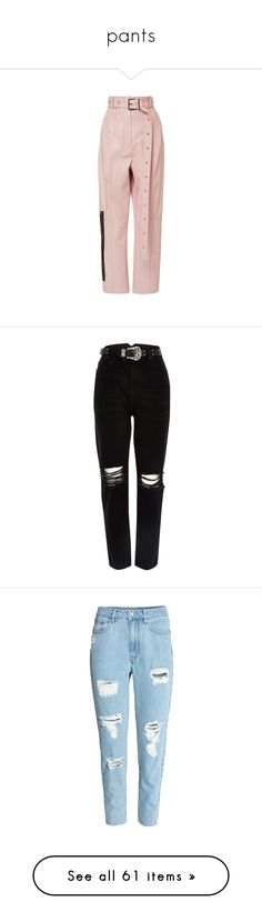 """""""pants"""" by cbbh on Polyvore featuring pants, trousers, pink, pink leather pants, leather trousers, real leather pants, genuine leather pants, pink pants, jeans and bottoms"""