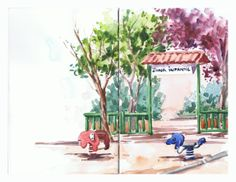 Zona infantil / Playground. Watercolor on Stillman & Birn beta sketchbook by isabel Mariasg.