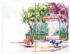 Zona infantil / Playground. Watercolor on Stillman & Birn beta sketchbook by isabel Mariasg.