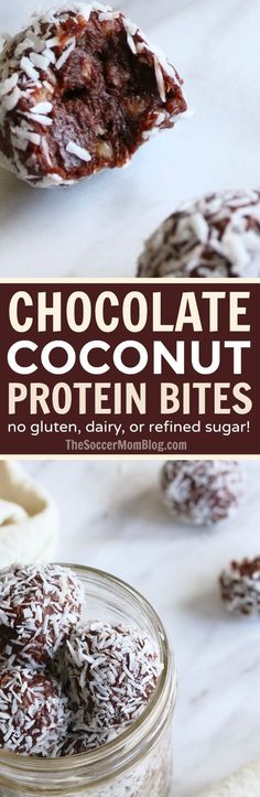Eating right couldn't be easier (or tastier!) with these delicious Chocolate Coconut Protein Balls! A simple, healthy make-ahead breakfast or energy boosting grab-n-go snack. Dairy free, gluten free, and no refined sugar added!