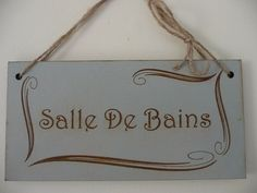 Distressed French Bathroom Sign, Salle De Bains Bathroom Sign, Art Nouveau Wall Decor, Wooden Sign by Crafu on Etsy https://www.etsy.com/listing/224001504/distressed-french-bathroom-sign-salle-de