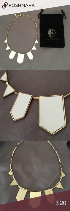 House of Harlow Station Necklace House of Harlow Leather Station Necklace. Gold toned, white leather. Used twice, in excellent condition! Comes with Jewelry pouch. House of Harlow 1960 Jewelry Necklaces
