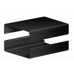 """2502H-4B ~ Split Body Black Anodized Aluminum Enclosure w/ Plain End Plates 4.0""""L X 2.610""""W X 1.160""""H"""
