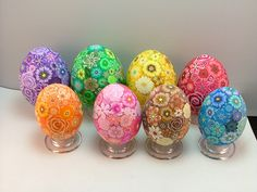 beautiful polymer clay covered eggs by Angela Hickey
