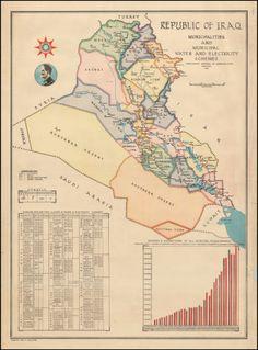 Vintage Wall Art, Vintage Walls, Iraq Map, Old Maps, Baghdad, Arabian Nights, Historical Maps, Nostalgia, Prints