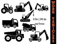 Work Vehicles Silhouettes // Dump Truck Silhouette // Backhoe Clipart // Transportation // Construction Trucks