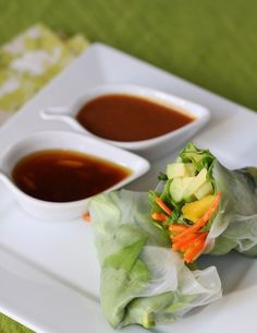 fresh spring rolls with 3 different sauces from Our Best Bites