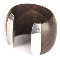 81st Generation   Wood and sterling silver bracelet.