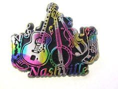 Fun Nashville Rubber Magnet Souvenir Guitar Banjo Fiddle Cowboy Boots USA Made #countrywestern #bluegrass #NashvilleTennessee