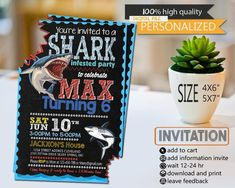 Shark Birthday Party Invitation Card Boy Parties Invitations 4th