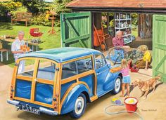 Shop Bits and Pieces jigsaw puzzle store for kids and adults! The granddaugher washes grandpa's car while grandpa fixes her brother's bike 300 piece jigsaw puzzle by artist Trevor Mitchell measures 18 x Morris Traveller, Cartoon Art Styles, Morris Minor, Puzzle Art, Illustrations, 1000 Piece Jigsaw Puzzles, Vintage Posters, Vintage Art, Classic Cars