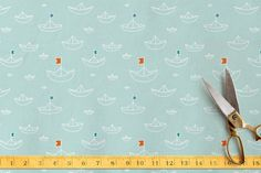 Afloat by Shirley Lin Schneider at minted.com paper boats, ocean, nautical, sailing, sea, marine fabric