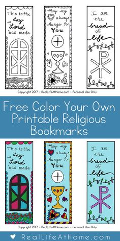 Free Color Your Own Printable Religious Bookmarks - Perfect for First Communion! { First Communion Bookmarks Coloring Page }