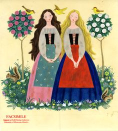Snow White and Rose Red: Gustaf Tenggren, 1955 - strange the odd things you suddenly remember from your childhood Elsa Beskow, Fairytale Art, Vintage Children's Books, Vintage Art, Children's Literature, Children's Book Illustration, Book Illustrations, Red Roses, Childrens Books