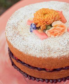 Naked cakes at weddings: Carlie Statsky Photography / TheKnot.com