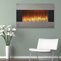 Northwest 36 in. Stainless Electric Wall Mount or Freestanding Fireplace - With the Northwest 36 in. Stainless Electric Wall Mount or Freestanding Fireplace you can put a beautiful and safe electric fireplace in any room,. Electric Fireplace Heater, Wall Mount Electric Fireplace, Electric Fireplaces, Wall Mounted Fireplace, Freestanding Fireplace, Fireplace Glass, Stove Fireplace, Log Home Decorating, Decorating Ideas