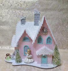 Large Vintage Inspired Pink Putz House by laughterandlemondrop, $45.00