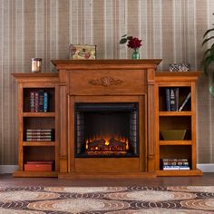 southern enterprises tennyson glazed pine fireplace with bookcases