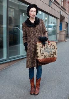 "Sofia, 26    ""I'm wearing a headband from Monki, vintage coat and boots and a Double RL bag.    40s-50s vintage and 60s-70s Western style inspire me but always mixed with something modern.""  13 November 2012, Korkeavuorenkatu  via Hel Looks"
